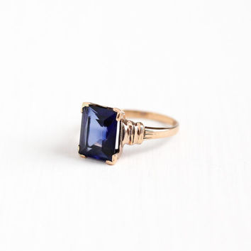 Vintage 10k Rosy Yellow Gold Created Blue Sapphire Ring - Art Deco 1940s Size 6 3/4 Emerald Cut Blue Stone Fine Engagement Jewelry