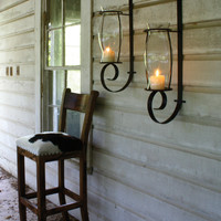 Flat Iron Wall Sconce With Glass Hurricane
