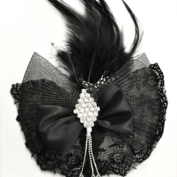 Gothic Victorian Lace Bow Feather Hair Pin Black
