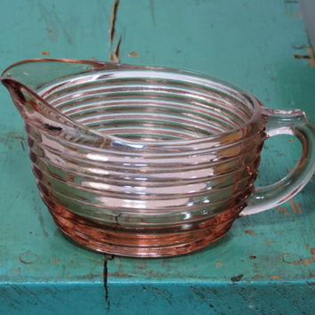 Anchor Hocking Manhattan Pattern Pink Depression Glass Creamer . Beautiful Reflection . Horizontal Rings . Art Deco