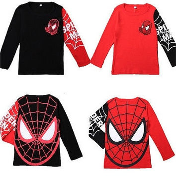 Kids Baby Boys Toddlers T-shirts Spider Man Cartoon 100%Cotton Tops 2-8Y Clothes [8270461249]