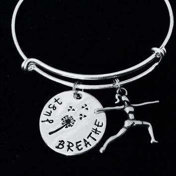 Warrior Pose Yoga Girl Just Breathe Adjustable Bracelet Expandable Silver Charm Bangle Yogi Gift