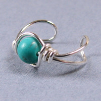Genuine Teal Turquoise Ear Cuff Sterling Silver by WireYourWorld