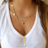 Multilayer Leaves Feather Y-Necklaces Trendy Turquoise Women Necklace