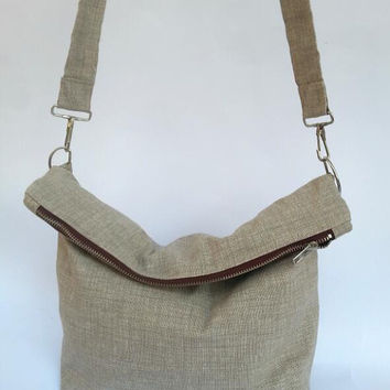 foldover bag, crossbody bag, medium size, beige, cotton, everyday purse, italian handmade bag, spring summer