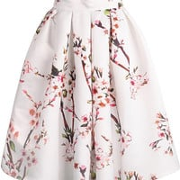 Peach Flower Print Skirt