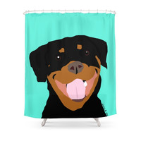 Society6 Rottweiler Graphic On Mint Shower Curtain