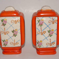 Vintage 1920s To 1930s Rectangular Salt And Pepper Shakers With Orange Sides And Floral Front And Back Made In Japan