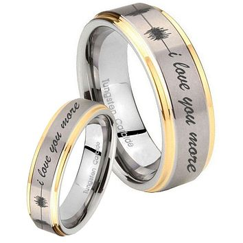His Hers Step Edge Sound Wave i love you more more 14K Gold 2 Tone Tungsten Wedding Rings Set