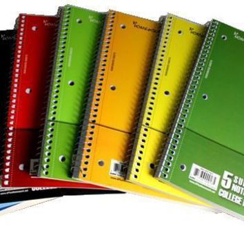 5 Subject College Ruled Notebook -150 Sheets Case Pack 24