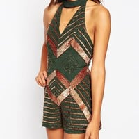 ASOS Halter Swing Playsuit with Bronze Embellishment