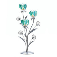 Triple Peacock Feather Plume Turquoise Jeweled Stem Flower Candle Holder