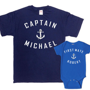 Matching Father And Baby Father And Son Matching Shirts Daddy Daughter Gifts For Dad T Shirt Captain And First Mate Bodysuit - SA367-539