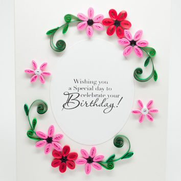 Birthday Card - Flowers - Floral Greeting - Paper Quilling - Handmade - For Her - Mom Girlfriend