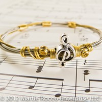 Guitar string bangle steel brass wire wrap treble music bead.GS12-74