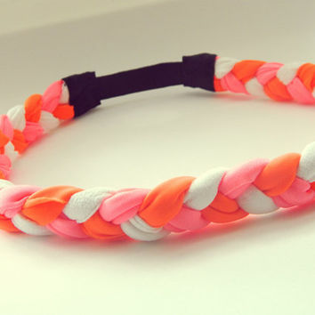Thick Neon Coral Neon Orange and White Braided Headband Hippie Headband Womens Hair Accessories Elastic Headband