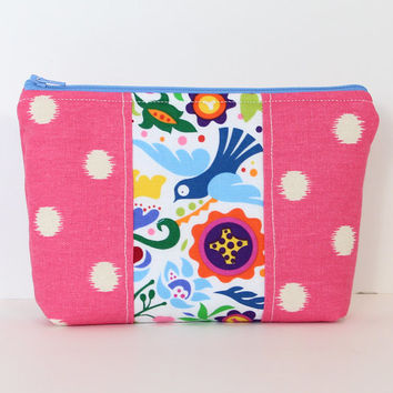 Padded Zipper Pouch Cosmetic Case  Accessory Bag Pink Polka Dot Fabric with Tropical Blue Bird Accent
