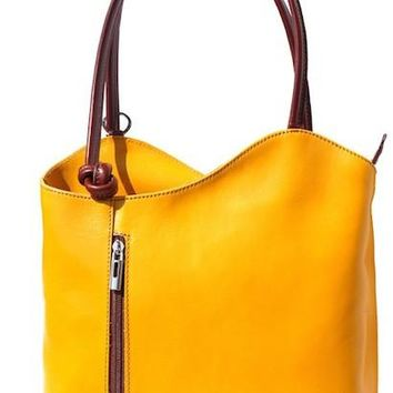 GENUINE LEATHER CONVERTIBLE BACKPACK AND SHOULDER BAG