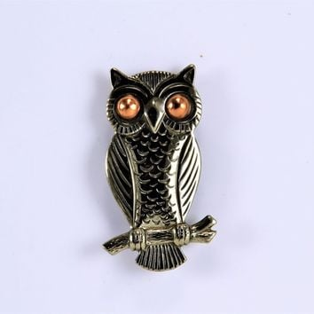 Owl Brooch Pin - Bell Trading Post - Nickle Silver Copper Eyes - Vintage Retro Fashion Accent - Fred Harvey