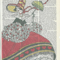 Book Print Lady in Red on Vintage Upcycle Book Page Print Art Print Dictionary Print Collage Print
