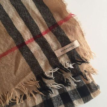 VONEA7H AUTHENTIC BURBERRY GIANT CHECK Print Gauze Brown Wool Silk Scarf Nova Check