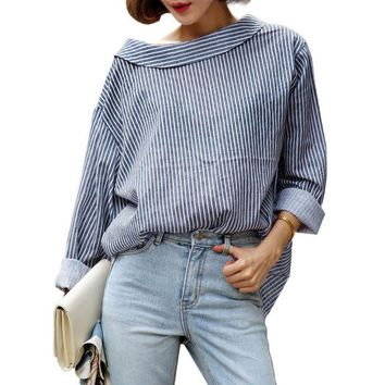 VOND4H Shirt 2017 Autumn Long Sleeve Blue Striped Back Button Loose Casual Oversized Top Blouse Women Clothing women loose tops blusas