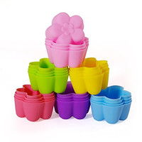 MIREN Reusable and Non-stick Mini Silicone Baking Cups/Muffin Cup Molds/Mini Chocolate Holders/Truffle Cups -24 Pack-6 Vibrant Colors Flower