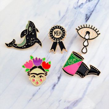 Metal Gift 5 Piece/Set Lovely Fashion Jewelry Jacket Collar Pin Brooch Badges