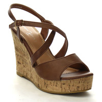 Women's Faux Leather Ankle Buckle Straps Cross-tied Open Peep Toe Strappy Slingback High Platform Cork Wedge Heel Sandals Shoes