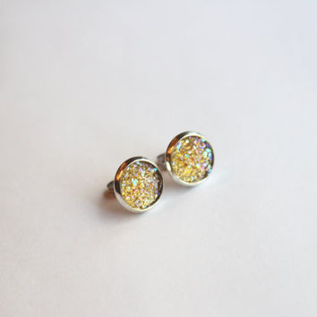 NEW - Champagne Faux Druzy Glitter Earrings - Posts/Studs 10mm - MEDIUM