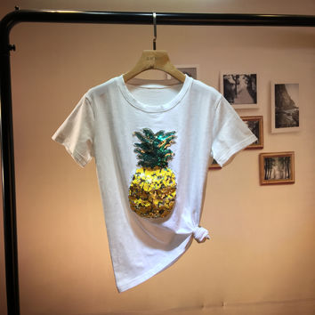 Pineapple Embroidered T Shirt