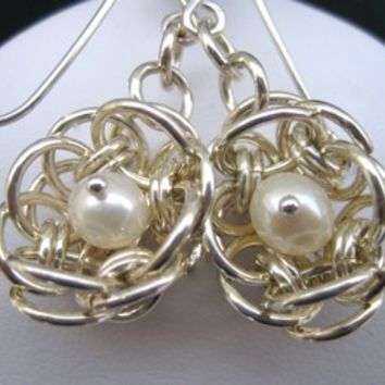 Helm Weave Silver Filled Flower Earrings with white pearls