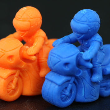 Orange and Blue Motorcycle Pencil Topper Pair