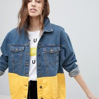 Noisy May Colour Block Denim Jacket at asos.com