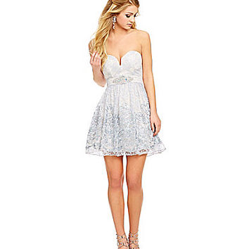 B. Darlin Sweetheart Soutache Dress - Grey/Pale Blue