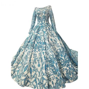 New Design Lace Up Long Sleeve Wedding Gowns Lace Embroidery Blue Bodice Modest Bridal Dress