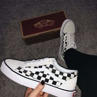 VANS OLD SKOOL OS Casual Checkerboard Pattern Canvas Flats Sneakers Sport Shoes