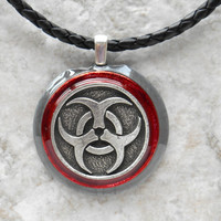 biohazard necklace: mens necklace - unique gift - post apocalyptic - mens jewelry - boyfriend gift - industrial jewelry - the artisan group