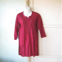 Minimally Embroidered Red Tunic; Women's Medium Kurta-Style Dark Cranberry Red Cotton Tunic for Leggings/Lounge/Cover-Up/Festival