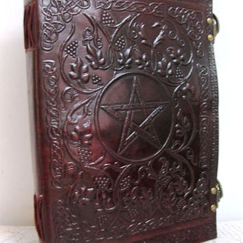 Blank, Embossed Leather-Bound Notebookbook