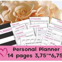 Personal planner printable download pages Medium planner monthly, weekly planner pages travelers notebook tn inserts week on one page wo1p