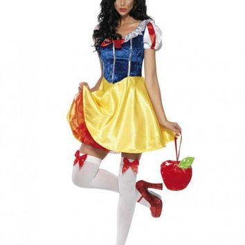ICIKHY9 Adult Snow White Costume Cosplay Fantasia Halloween Costumes For Women Princess Dress Fancy Party Dress