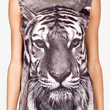 Studded Tiger Graphic Muscle Tee | FOREVER 21 - 2041957654