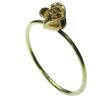 14K Girls Ring Simple Gold Flower Leaves Ring First ring Birthday Gift Minimalist Ring