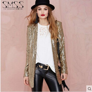 2016 spring women long sleeves motorcycle jacket loose gold and silver lapel suit sequined blazers none button blaser suits J404