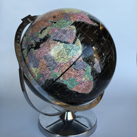 "Vintage World Globe, Black Oceans World Globe, Vintage 12"" Replogle Globe, Encyclopedia Britanica Replogle World Globe, Desk Globe"