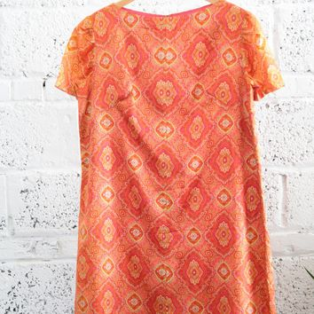 Vintage Patterned Silk Shift Dress