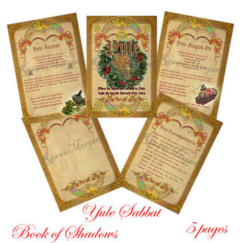 YULE SABBAT 5 Pages, Digital Download,  Book of Shadows Pages, Grimoire, Scrapbook, Spell