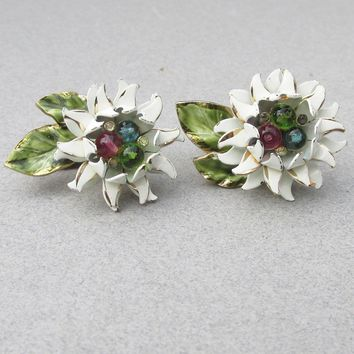Cute! Vintage VENDOME White SUNFLOWER Enamel & Rhinestone Earrings