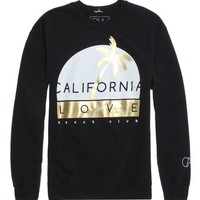 California Love Gold Palm Cali Crew Fleece - Mens Hoodie - Black